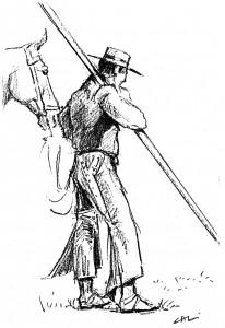 Man stood with garrocha y horse - CL
